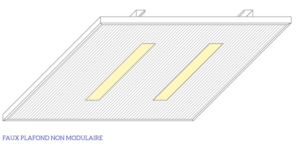 Guide de l 39 clairage plafonds et faux plafonds guide for Suspension faux plafond